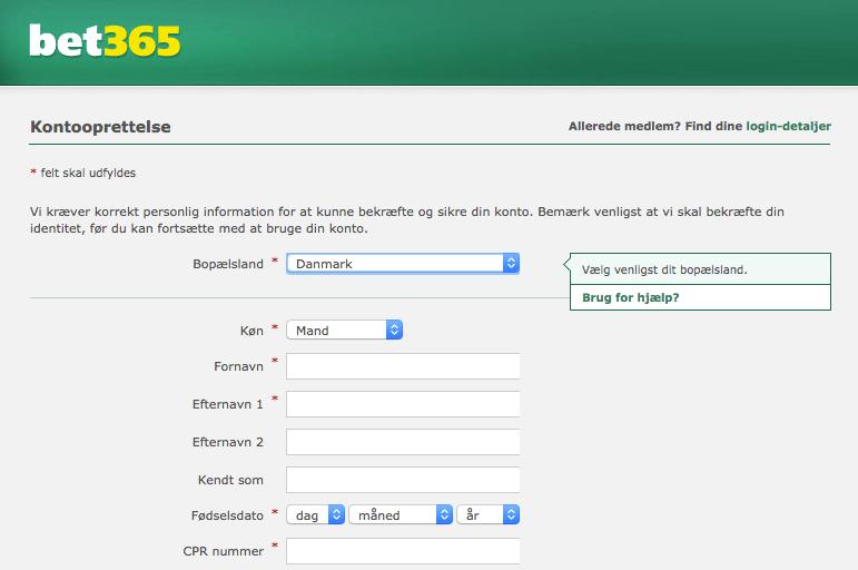 Oprettelselsformular hos bet365